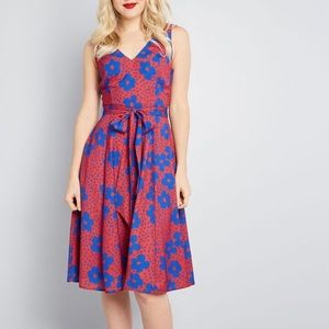 Red and blue ModCloth fit and flare dress